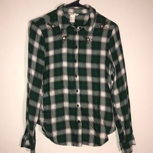 Green plaid embellished shirt